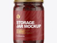 Clear Glass Jar with Raspberry Jam Mockup