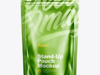 Metallic Stand Up Pouch with Zipper Mockup - Front View