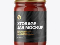 Clear Glass Jar with Sauce Mockup