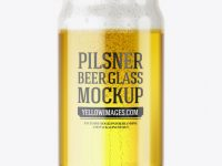 Can Shaped Glass Cup w/ Pilsner Beer Mockup