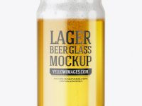 Can Shaped Glass Cup w/ Lager Beer Mockup