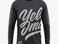 Men's Heather Long Sleeve T-Shirt Mockup - Front View