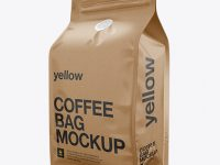 Kraft Coffee Bag Mockup / Half Side View