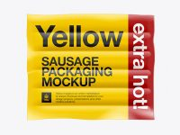 4 Sausages in Plastic Package Mockup