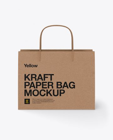 Paper Shopping Bag W/ Twisted Paper Handles Mockup
