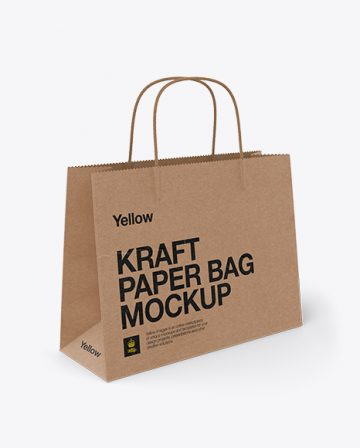 Paper Shopping Bag Mockup / Half Side View