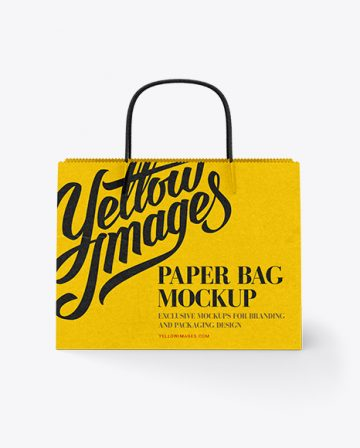 Wide Paper Bag / Front View Mockup
