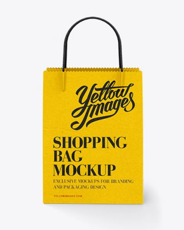 White Paper Shopping Bag / Front View Mock-up