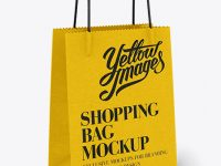 White Paper Shopping Bag / Half Side View Mockup