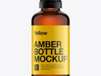 Amber Glass Essential Oil Bottle Mockup
