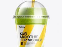 Kiwi Smoothie Cup with Straw Mockup