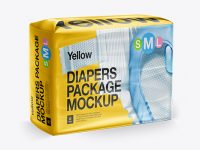 Big Package Of Diapers - Front 3/4 View Mockup