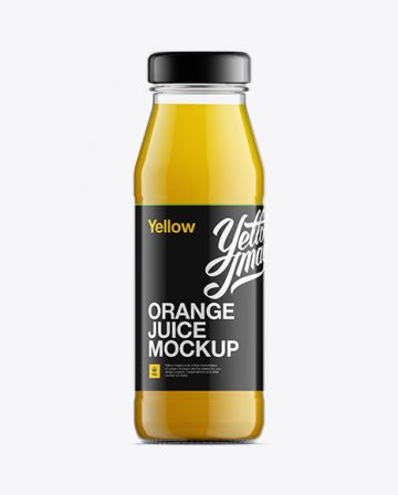 Glass Bottle W/ Orange Juice Mock-up