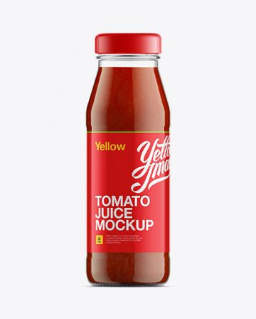 Clear Glass Bottle W/ Tomato Juice Mock-Up