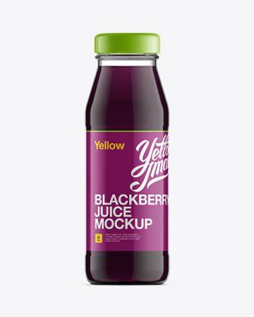 Glass Bottle W/ Blackberry Juice Mockup