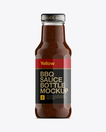 Glass Bottle W/ Barbecue Sauce Mockup