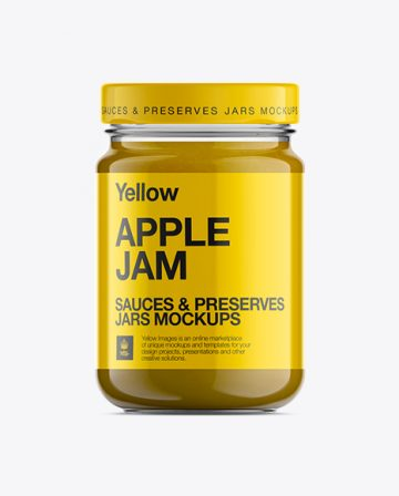 Glass Jar W/ Apple Jam Mockup
