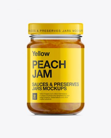 Glass Jar W/ Peach Jam Mock-Up