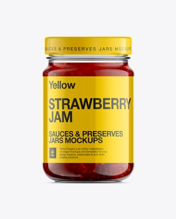 Mason Jar W/ Strawberry Jam Mockup