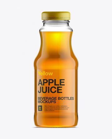 Glass Bottle W/ Apple Juice Mockup