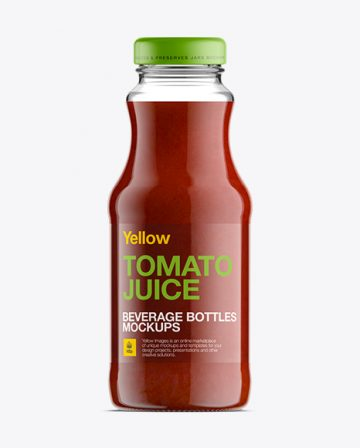 Glass Bottle W/ Tomato Juice Mockup