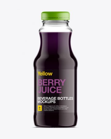 Clear Glass Bottle W/ Berry Juice Mockup