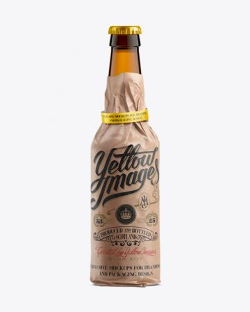 33cl Long Neck Amber Bottle Wrapped in Kraft Paper with Ribbon Mockup