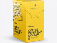 Coffee Paper Box Mockup - Front 3/4 View
