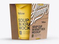 Soup Cup in Kraft Box Mockup / Front 3/4 View (Eye-Level Shot)