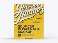 Soup Cup in Paperboard Box Mockup / Side View (Eye-Level Shot)