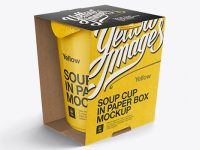 Soup Cup in Paperboard Box Mockup  / Front 3/4 View (High-Angle Shot)