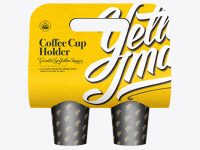 Paper Coffee Cup Carrier Mockup