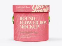 Round Flower Box Mockup - Front View