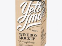 Kraft Paper Wine Box Mockup - 25° Angle (High-Angle Shot)