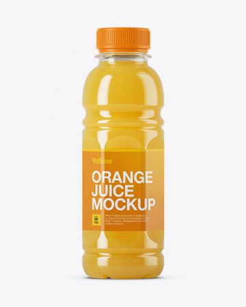 Plastic Bottle W/ Orange Juice Mockup