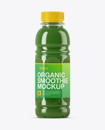 Plastic Bottle with Green Smoothie Mockup