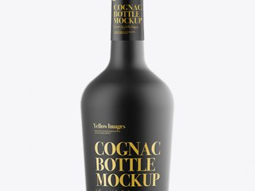 Cognac Black Matte Bottle Mockup - Front View