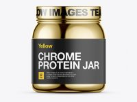 Chrome Protein Jar Mockup