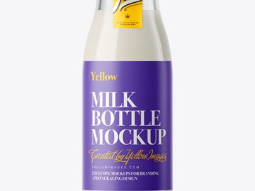 Glass Milk Bottle with a Tag Mockup