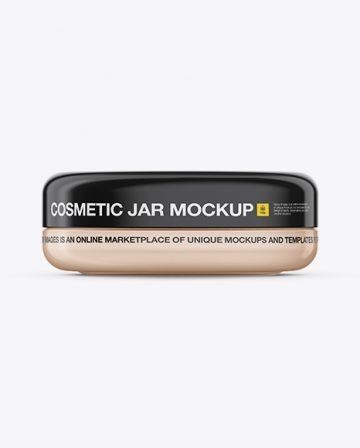 Cosmetic Jar Mockup - Front View / Top View