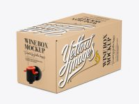 Kraft Paper Wine Box with a Tap - 25° Angle Front View (High-Angle Shot)