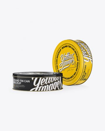 Two Round Tin Cans Mockup - Halfside View (Eye Level Shot)