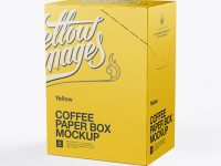 Coffee Paper Box Mockup - Right Side 3/4 View