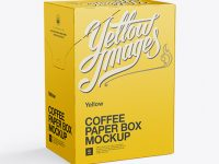 Coffee Paper Box Mockup - Left Side 3/4 View