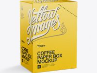 Coffee Paper Box Mockup - 70° Angle Back View