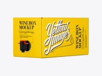White Paper Wine Box with a Tap Mockup - 25° Angle Front View (Eye-Level Shot)