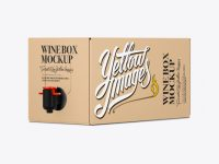 Kraft Paper Wine Box with a Tap Mockup - 25° Angle Front View (Eye-Level Shot)