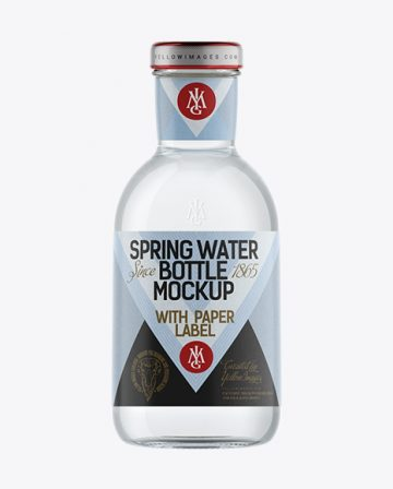 Clear Glass Spring Water Bottle with Paper Label Mockup