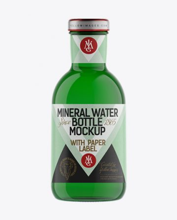 Green Glass Mineral Water Bottle with Paper Label Mockup
