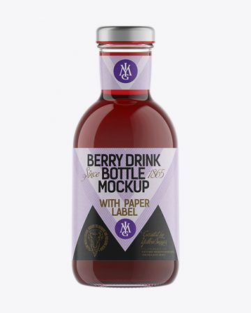 Clear Glass Berry Drink Bottle with Paper Label Mockup